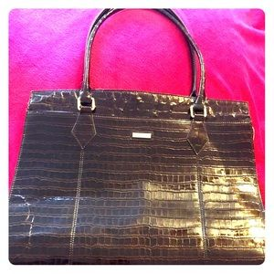 St John Tote Dark Brown Patent Croc XL Heavy Wear